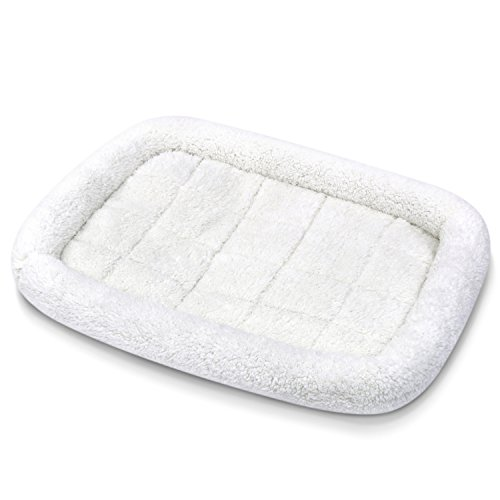 Fluffy Paws Foldable Soft Fleece Pet Crate Mat Bed with Accessories Pocket for Crates, Pet Carriers – For Dogs & Cats, Machine Washable, Anti-Skid Bottom, Can Be Combined w/ Pet Warmers [Small/Large]