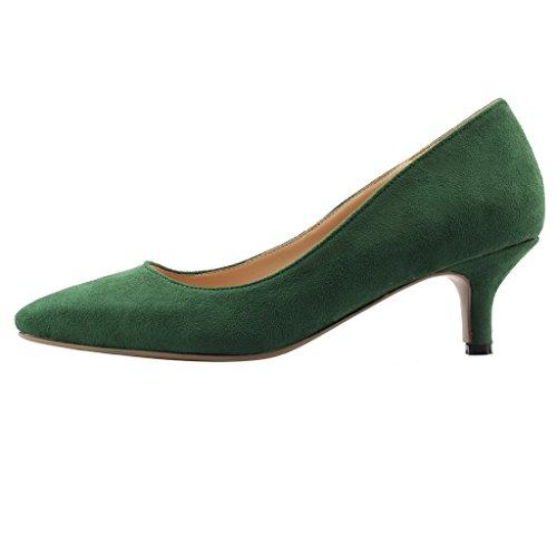 Calaier Damen Cahalfway 5.5CM Stiletto Schlüpfen Pumps Schuhe Grün