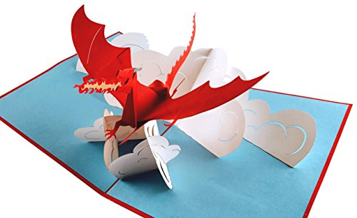 Price comparison product image iGifts And Cards Fire Breathing Dragon 3D Pop Up Greeting Card - Mystical, Flying, Strong - Folds Flat - Birthday, Just Because, Thinking of You, Father's Day, Retirement, Get Well, Congratulations