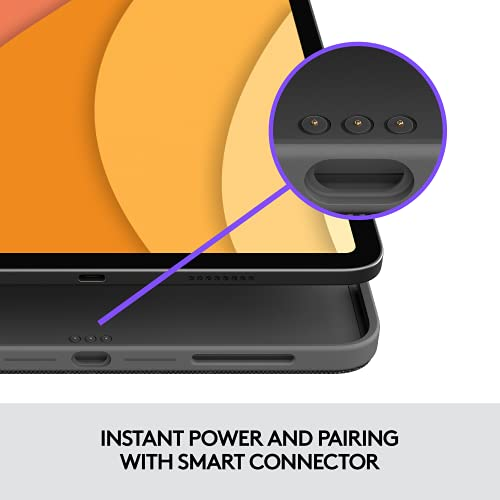 Logitech Combo Touch iPad Air (4.a generación - 2020) Funda con teclado - Teclado retroiluminado desmontable con soporte, trackpad Click-Anywhere, conector inteligente - Gris Oxford; Diseño de EE. UU.