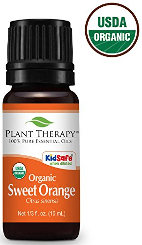 USDA Certified Organic Sweet Orange Essential Oil. 10 ml. 100% Pure, Undiluted, Therapeutic Grade.