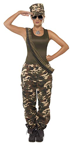 Smiffys Women's Khaki Camo Costume Female Includes Vest and Trousers, Multi, Medium -