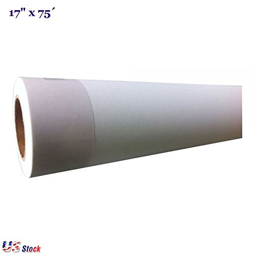 H-E (230gsm) Art Canvas Roll Water Resistant UV Proof Matte Polyester Inkjet Canvas Rolls with Strong Tear Resistant 17''x75´ / 24''x75´ / 36''x75´ / 44''x75´ - US Stock (17'' x 75´) by H-E