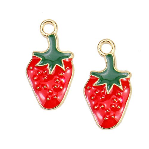 - Monrocco 30Pcs Enamel Strawberry Charm Fruit Charms Pendant for Jewelry Making Bracelet Necklace