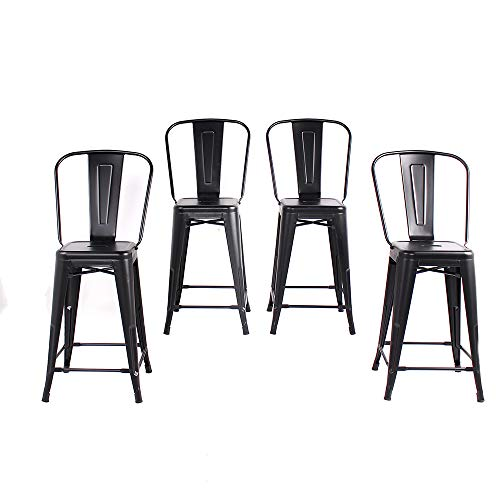 Buschman Set of 4 Matte Black 24 Inches Counter Height Metal Bar Stools with High Back, Indoor/Outdoor ()
