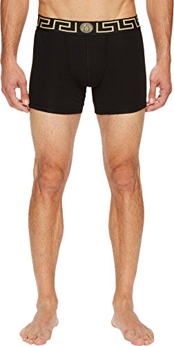 Versace  Men's Iconic Long Boxer Brief with Black Band Black 1 Underwear