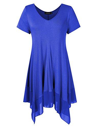 (AMZ PLUS Womens Plus Size Short Sleeve Spliced Asymmetrical Tunic Top Blue 4XL)