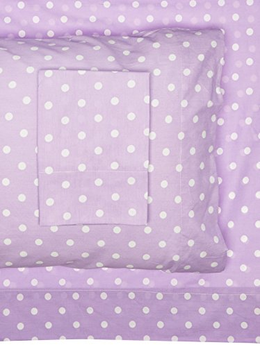 Mi Zone - Polka Dot Cotton Sheet Set - Purple - Twin - Extra Soft - Easy Fit - Includes  1Fitted Sheet, 1 Flat Sheet, 1 Pillowcase