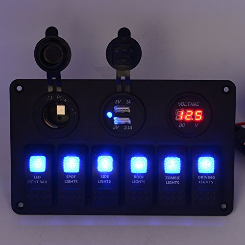SixDu 5 PIN Black Switch Panel 6 Gang with Voltmeter/5V 1A&2.1A USB Charger/Cigarette Lighter Toggle Switch Multi-Functions Panel for Car Boat Marine RV Truck
