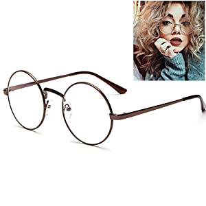Littlegrass Round Circle Frame Clear Lens Oversized Eyeglasses Vintage Metal Brown Black Silver Gold (Brown)
