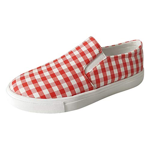 Goddessvan Women's Plus Size Flat Shoes Fashion Casual Comfortable Canvas Sneakers Red