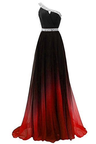 DianSheng Women's One Shoulder Beadings Chiffon Bridesmaid Long Prom Dresses Gradient&Red US10