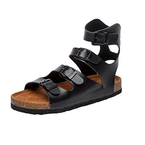 ZKOO Mujeres Footbed De Corcho Sandalias Punta Abierta Vendaje Zapatos de Hebilla Chanclas De Playa Sandalias Planas al Aire Libre Negro H453Di