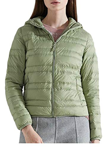 Cromoncent Women's Thin Hoodid Lightweight Zipper Quilted Vogue Down Outerwear Coats Jacket Green XXS by Cromoncent