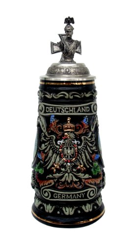 Kaiser Wilhelm II Deutschland Germany and German Eagle Beer (2 Old Germany Stein)