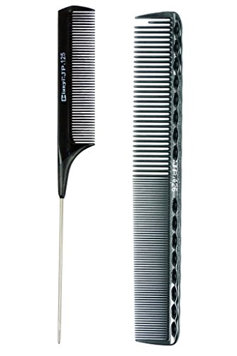 Salon Hairdressing Styling professional Tool Sharp Tail Combs And Carbon Comb, 2 Count Black