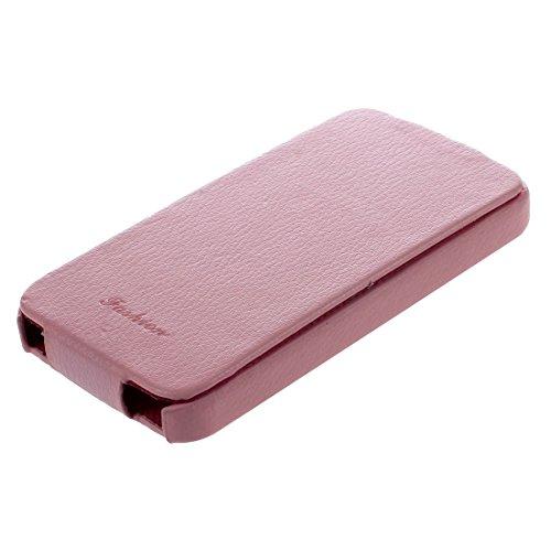 SODIAL(R)Funda de piel con tapa para iPhone 4/4s rosa rosa