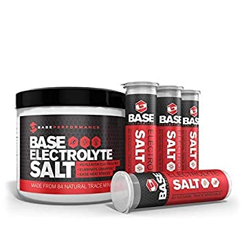 BASE Performance electrolyte salt, 226 Servings tub with 4 refillable race vials. Prevent cramping and gastrointestinal distress using an all natural formula rapidly absorbed under the tongue.