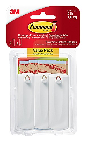 Command Sawtooth Picture-Hanging Hooks, 3-Hanger, 2 Pack