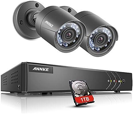 ANNKE® Sistema de cámaras de seguridad 4 ch 1080P Lite grabador DVR w/1 TB HDD y 2 x de vigilancia 720p HD al aire libre cámara Bullet, all-weather ...