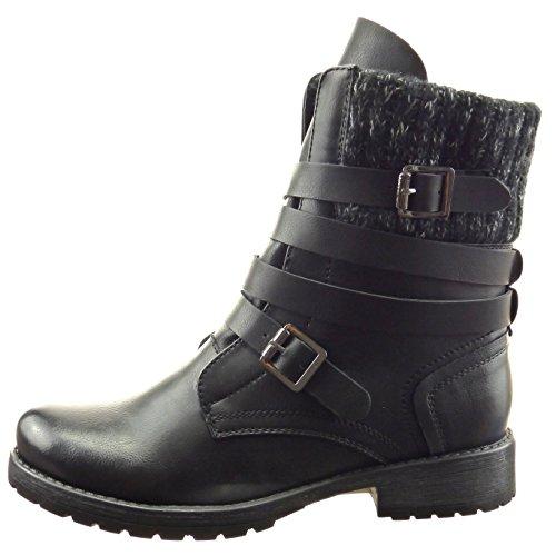 Sopily - damen Mode Schuhe Stiefeletten Combat Boots Multi-Zaum - Schwarz