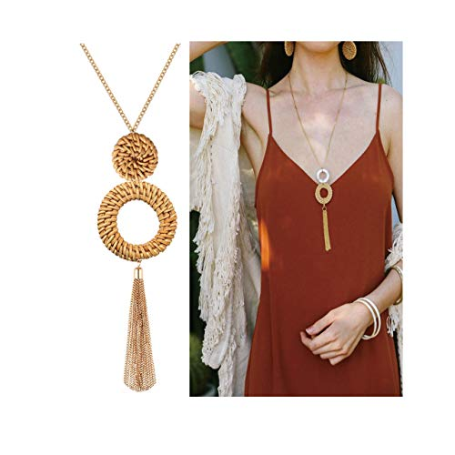Urwomin Tassel Pendant Necklace Handmade Straw Wicker Braid Statement Pendant Y-Shaped Long Chain Necklace for Women (deep)