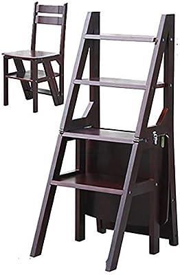 QQXX Taburete con Escalera Taburete de Madera Maciza con peldaños Escalera Plegable de Dos peldaños Cocina Taburete con Escalera de Tres Capas y Uso Doble (Color: Nogal Negro): Amazon.es: Hogar