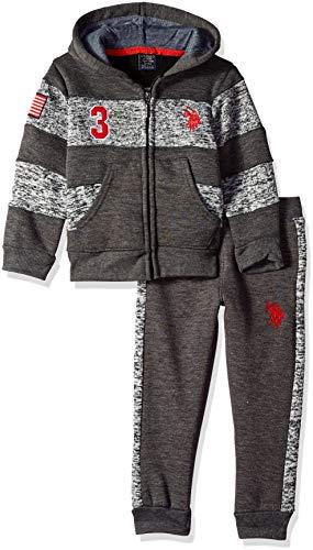 U.S. Polo Assn. Boys' Little Fleece Jog Set, Stripes with Taping Dark Heather Gray, 4 (Jog Pants Fleece)