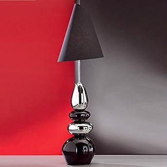 Lampe Sur Pied En Pierre Ceramique Noir Argent Abat Jour Noir