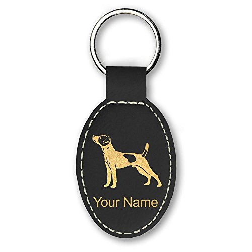 Oval Keychain, Jack Russell Terrier Dog, Personalized Engraving Included (Black)