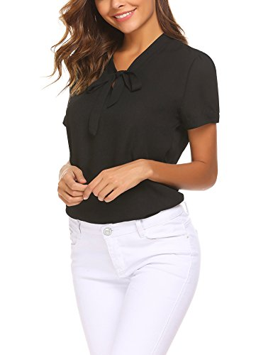 ACEVOG Bow Tie Neck Short Sleeve Casual Work Chiffon Shirts for Women,Black,Small