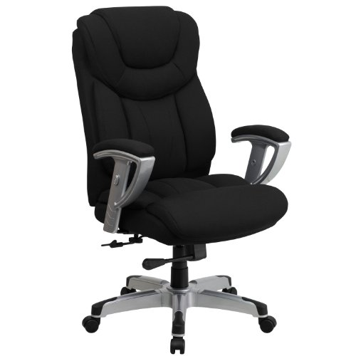 (Flash Furniture HERCULES Series Big & Tall 400 lb. Rated Black Fabric Executive Swivel Chair with Adjustable Arms)