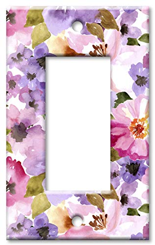 Purple Solid Faceplate Cover - Art Plates 1 Gang Decora - GFCI Wall Plate - Pink and Purple Flower Watercolor