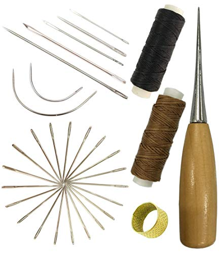 7 Pcs Curved Upholstery Hand Sewing Needles Sewing Needles with Leather Waxed Thread Cord 1 Brown 1 Black and Drilling Awl and Thimble and 25 Pcs Large-Eye Stitching Needles for Leather Repair