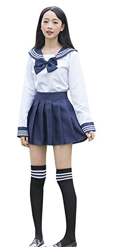 Japanese-School-Uniform-Adult-Women-Halloween-Sailor-Cosplay-Costume-Outfit-White-Navy