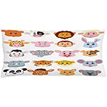 Cartoon Throw Pillow Cushion Cover by Ambesonne, Kids Themed Baby Cute Animals Lions Pigs Cows Farm Safari Baby Nursery Room Image, Decorative Square Accent Pillow Case, 36 X 16 Inches, Multicolor