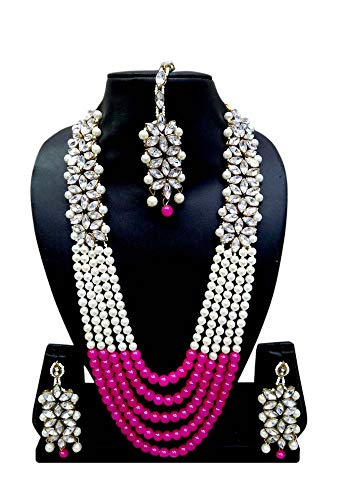 (CROWN JEWEL Bollywood Indian Fashion Wedding Pearl Gold Plated Bridal Jewelry Necklace Earring Set for Women (Pink))