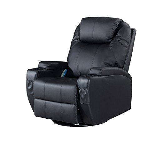 LCH Massage Rocker Recliner, Classic and Traditional Heating Vibrating Bonded Leather 360 Degree Swivel Recliner Chair, 1 Seat Motion Sofa with Overstuffed Arms and Back, Black - Black Leather Recliner Rocker