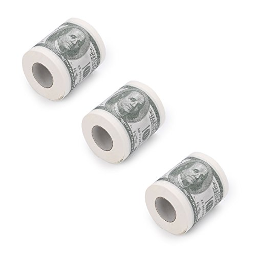 HDE Novelty $100 USD Dollar Bill Funny Money Currency Toilet Tissue Paper Roll (3 Rolls)