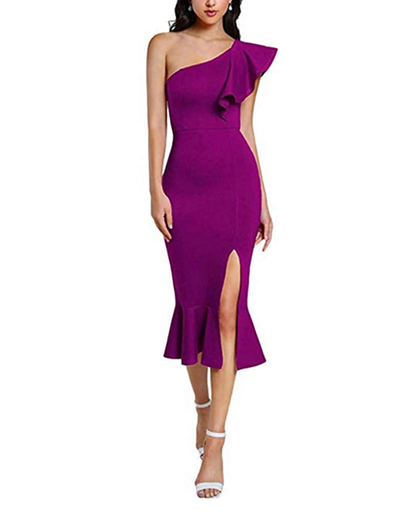 Dark Purple Aiyue Yishen Women's One Shoulder Ruffle Cocktail Dress Split Midi Party Dress