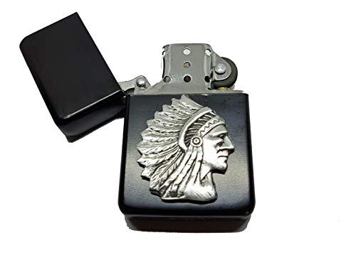 Stoneys Badges Native American Indian Chief Petrol Lighter in Pouch Western Cowboy English Pewter Emblem