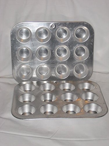 SET OF 2 - Vintage Mirro Miniature 2x1 Inch / 12 Compartment Cup Cake Muffin Aluminum Cake Baking Pan / Soap Candy Mold USA