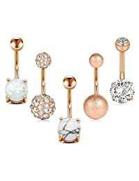 D.Bella 5 Pcs Belly Button Rings Stainless Steel for Women Girls Navel Rings 5 Style 14G Navel Piercing Body Piercing Jewelry