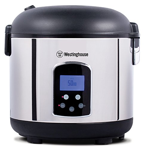 Westinghouse Rice Cooker, Hot Cereal Oatmeal Cooker, Food Steamer, 20 Cup, Stainless Steel and Black]()