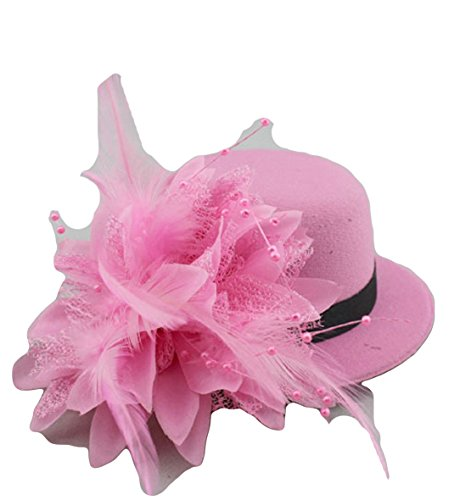 [YABINA Lady Girl Mesh Feather Hair Clip Fascinator Hats For Wedding Party (Pink)] (Pink Top Hats)
