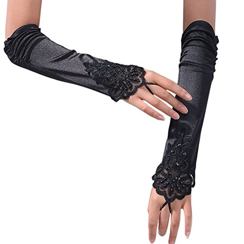 iLoveCos Opera Gloves Long Glove 1920s Accessories Flapper Costume Finger-less Gloves for Women Roaring 20's Accessories Classic Satin Elbow Length Gloves (Women Gangsters)