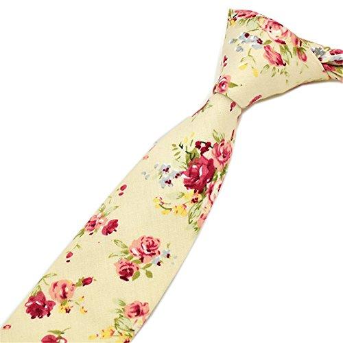 Secdtie Mens Skinny Tie Fashion Beige Cotton Floral Printed Linen Necktie MK35