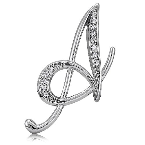 BERRICLE Rhodium Plated Base Metal Initial Letter 'A' Fashion Brooch - Plated Brooch Pin