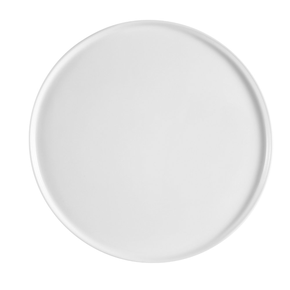 CAC China PP-12 Porcelain Round Flat Pizza Plate, 12-Inch, Super White, Box of 12