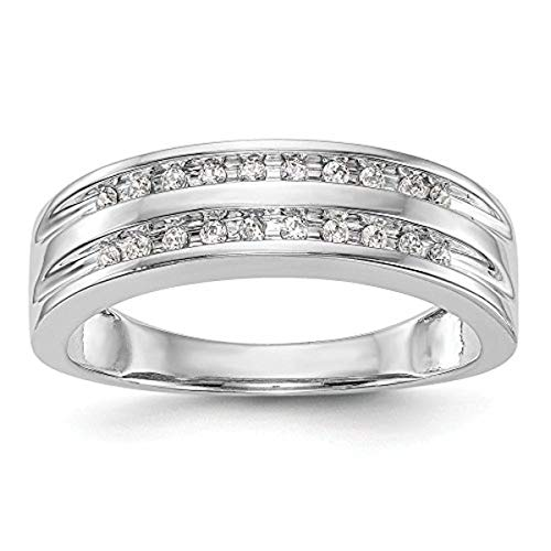 (KIOKORI 14K White Gold Diamond Men's 2-Row Channel Set Band 1/5-Carat tw ~ Ring Size 11 ~ by Roy Rose)